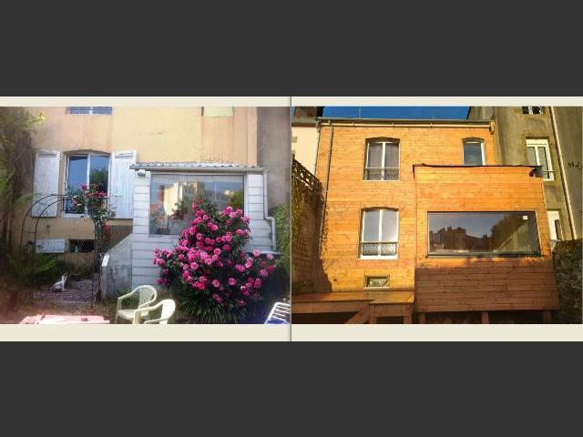 Extension, terrasse et bardage douglas sur façade ancienne à brest
