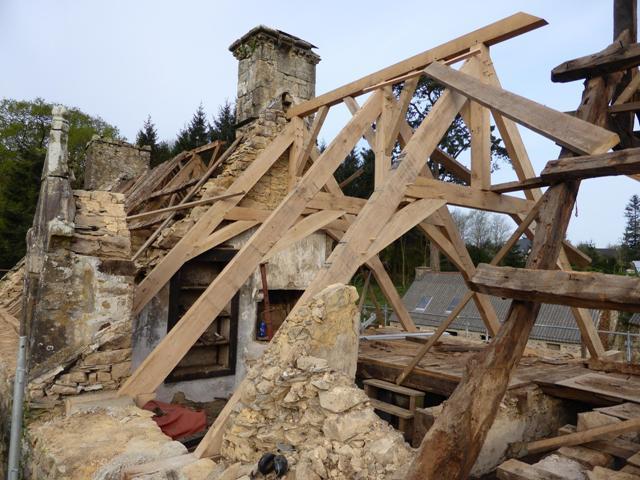 Rénovation complète charpente d'un manoir du xviième